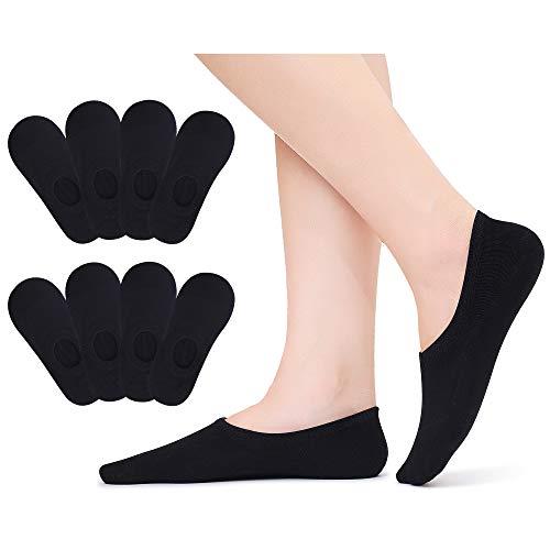 Falechay Sneaker Socken Füsslinge Damen 43-46 Baumwolle No Show Ballerina Unsichtbare Socken Invisible Söcklinge Rutschfest 8 Paar Schwarz 43-46