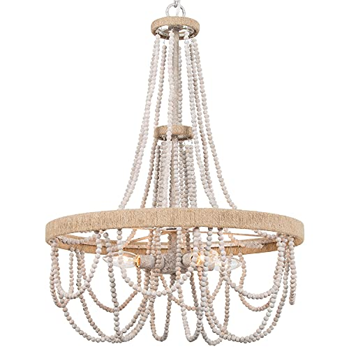 """Farmhouse Chandelier for Dining Room, 4-Light Boho Light Fixture with Hemp Ropes, Handmade Distressed Wood Beads, 19"""" W x 26"""" H"""