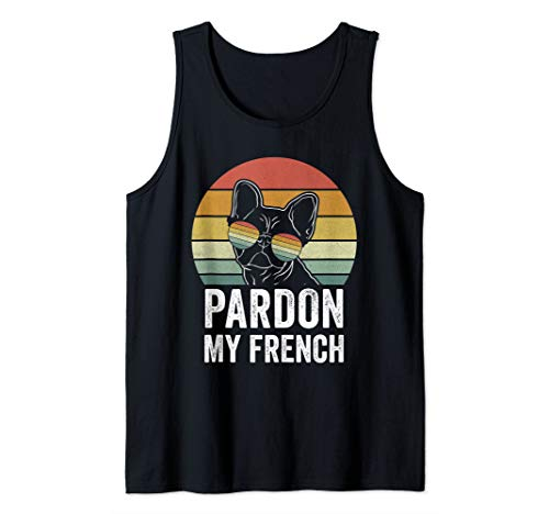 Retro Pardon My French Shirt Dog Lover Gift Frenchie Bulldog Tank Top