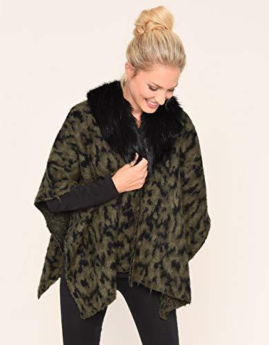Bexleys Woman by Adler Mode Damen Mantel m. Webpelz Khaki/schwarz Einheitsgrösse