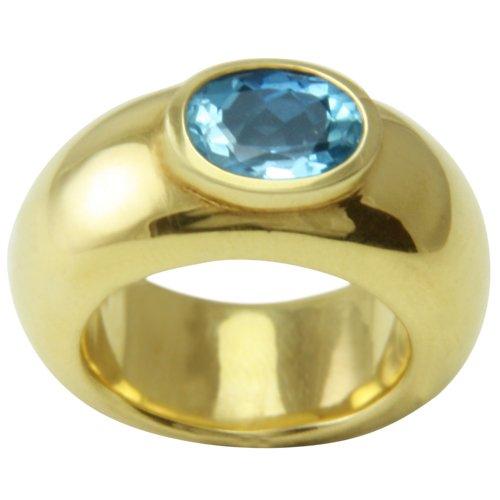 Joyas de diseño skielka único aguamarina Anillo Oro de forja (oro amarillo 585) - anillo de oro con aguamarina 3.15 puiido - Aguamarina Anillo negro