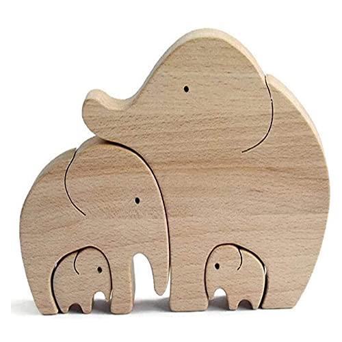 GPYONCT Elefante de Madera, Madre e Hijo, Familia, Elefante de Madera Simple Hecho a Mano, Figuras de Adornos, la Mejor mamá del Mundo, para Regalo del día de la Madre (C)