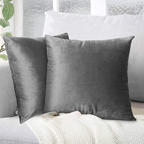 Yoofoss 2er Set Samt Kissenbezug 45x45cm Dekorative Kissenhülle ohne Füllung Weiche Zierkissenhülle mit Verstecktem Reißverschluss Grau