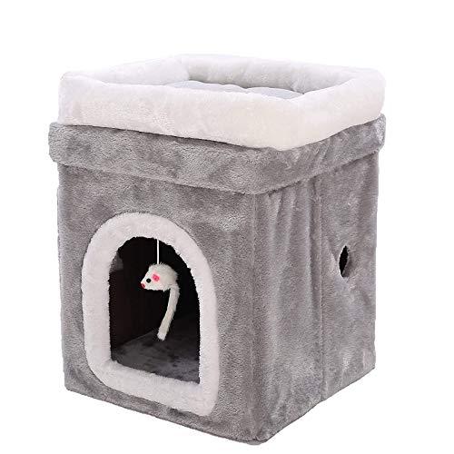 HONGLONG Luxus-faltbares Katzenhaus - Plüschgrau - mit Katzenbettkissen & Abnehmbarer Deckel, zusammenklappbarer und stapelbarer Katzenwürfel für Haustierkatze oder Kleiner Hund