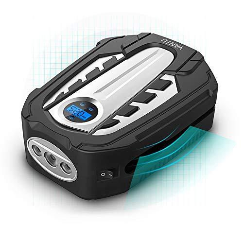 L&K Compresseur d'air portatif, DC12V, gonfleur de Pneu numérique avec la lumière de LED, arrêt Automatique, pour la Voiture, Moto, Bicyclette, Boule, Jouets gonflables et d'autres