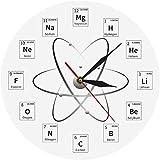 NIUMM Reloj De Pared Elemento Químico Reloj De Pared Periódico Química Reloj De La Habitación Acentos Aula Arte De La Pared Símbolos Químicos Reloj De Pared Moderno Silencioso Fácil De Leer