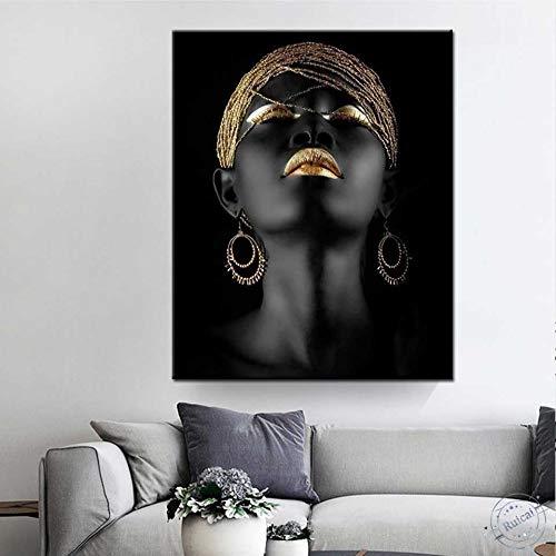 KWzEQ Joven Retrato Pintura Carteles e Impresiones Arte de la Pared Lienzo niña Moderna decoración del hogar,Pintura sin Marco,50X75cm