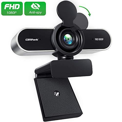 Campark Webcam 1080P HD mit Mikrofon, Web-Kamera USB Plug & Play 120° Sichtfeld für PC/Mac/ChromeOS/Android, Webkamera mit automatischer Lichtkorrektur für Live-Streaming/Videoanruf/Konferenz
