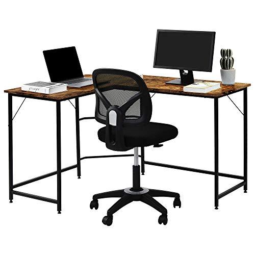 Soayone Escritorio de esquina para ordenador mesa de ordenador grande en forma de L bolsa almacenamiento para PC mesa de oficina mesa de trabajo mesa de oficina mesa de oficina mesa de oficina(negro)