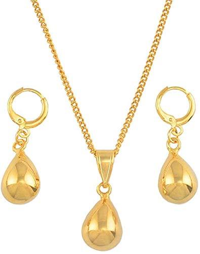 MGBDXG Co.,Ltd Collar pequeño Juego de Joyas con Gota de Agua, Collares con Colgante de Color Dorado, Juego de Pendientes para Mujeres, niñas, Regalos árabes africanos, Regalos