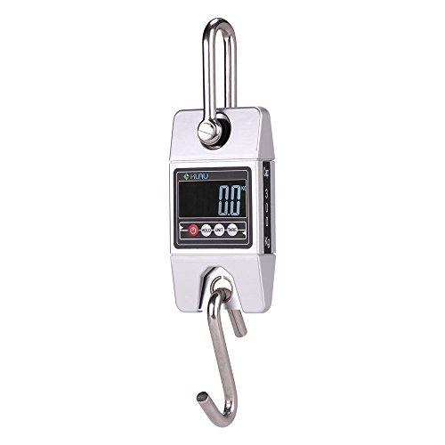 Klau Digital Hanging Scale High Precision Sensor 300 Kilogram / 600 Pound Industrial Crane Scale Silver for Farm Factory Hunting Outdoor