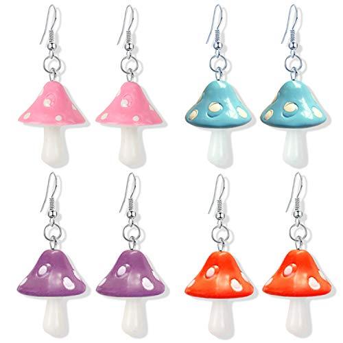 DAMLENG 4 Pairs Handmade Chic Colorful Mushroom Shape Dangle Drop Earrings Set Sweet Fresh Charm Mushroom Pendant Earrings for Women Girls Jewelry (Pink+Blue+Purple+Red)