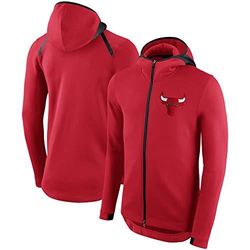Herren Hoodie NBA Fans Jersey Chicago Bulls Sweatshirt Mit Tunnelzug Reißverschluss Lange Ärmel Lässig Bequemer Warmer Pullover S-XXXL Red-M
