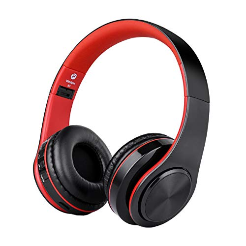 Over Ear Wireless Headphones, Hi-Fi Bass Bluetooth Headphones, Built-in Noise Reduction Mic, Foldable Bluetooth Headset with SD Card Slot for Airplane Travel Cell Phones