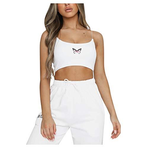 Dicomi Womens Fashion Butterfly Printed Tank Tops Ladies Sexy Crewneck Short Cami Swing Clubwear Vest