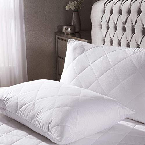 Juego de 2 almohadas de pluma de pato con fundas de almohada acolchadas de calidad de hotel, antiácaros, lavable, calidad premium, hipoalergénica, de fácil cuidado, extra suave, de lujo (48 x 74 cm)
