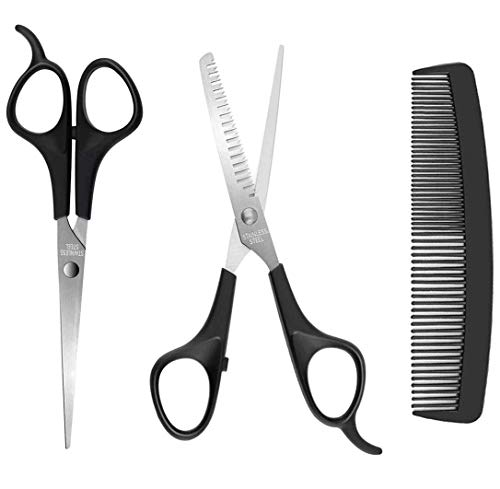 Hair Cutting Scissors - Professional Barber Thinning Shears with Comb - Stainless Steel Haircut Kit for Men Women and Kids