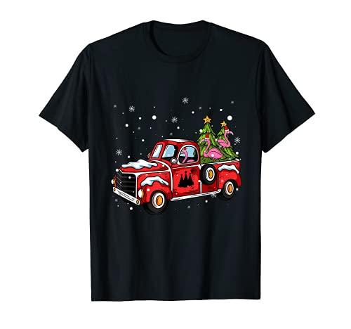 Flamingo Riding Red Truck Pick Up Árbol de Navidad Vintage Camiseta