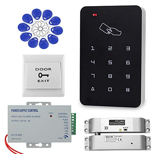 Dongyang RFID Teclado Kit de Sistema de Control de Acceso a la Puerta Cerradura de Puerta con Perno NC Eléctrico + Fuente de Alimentación + 10pcs de llaveros Juego Completo