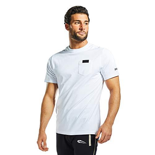 SMILODOX Herren T-Shirt Pocket | Kurzarm Funktionsshirt für Sport Fitness Gym & Training | Trainingsshirt - Laufshirt - Rundhals Sportshirt, Farbe:Weiß, Größe:M