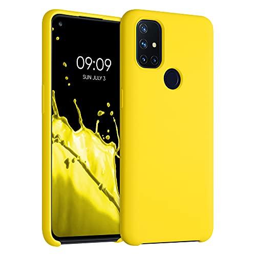 kwmobile Hülle kompatibel mit OnePlus Nord N10 5G - Hülle Silikon gummiert - Handyhülle - Handy Hülle in Vibrant Yellow