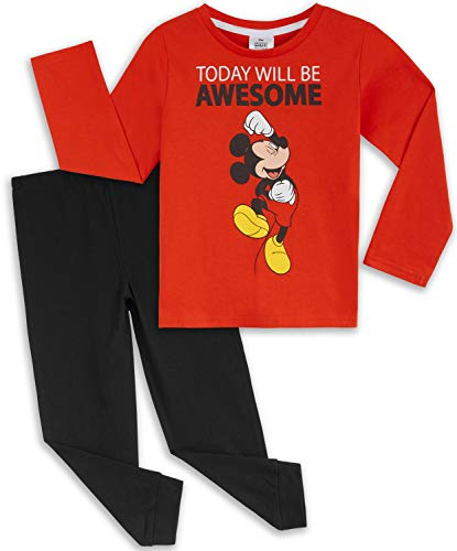 Disney Pijama Niño, Pijamas Niños Personaje Mickey Mouse, Conjunto Pijama Niño Invierno de Manga...