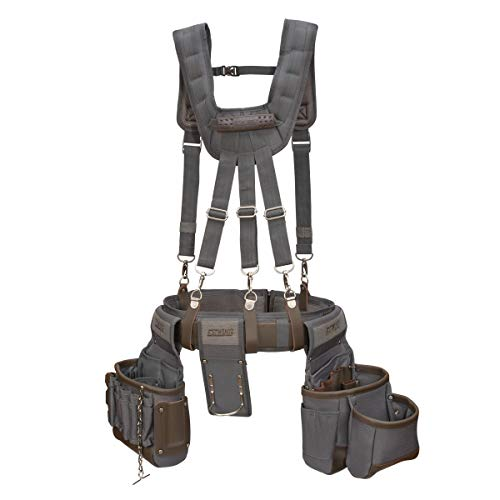 Estwing 13-Pocket Electrician's Tool Rig, Durable Construction, Cooling Mesh-Padded Suspenders, Adjustable Padded Belt, Plentiful Storage