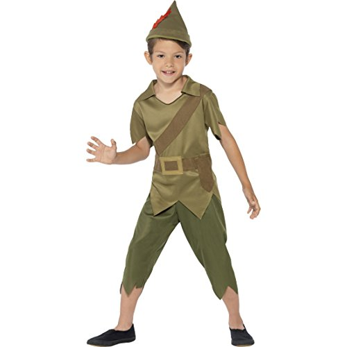 Peter Pan Kinderkostüm Robin Hood Kostüm M 7-9 Jahre 128-140 cm Mittelalter Räuber Märchenkostüm Waldläufer Mittelalterkostüm Jäger Räuberkostüm Bogenschütze Dieb Faschingskostüm Karnevalskostüme Jungen