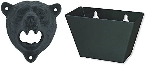 Tozz Pro Cast Iron Wall Mount Grizzly Bear Teeth Bite Bottle Opener Black opener black cap catcher product image