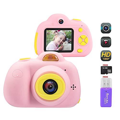 Cámara Digital para Niños, 18MP 1080P HD Video Cámaras para Niños con Tarjeta de Memoria de 16GB, Silicona a Prueba de Golpes Cámara de Fotos Digital con Zoom Digital 4X, Batería Recargable (Rosa)