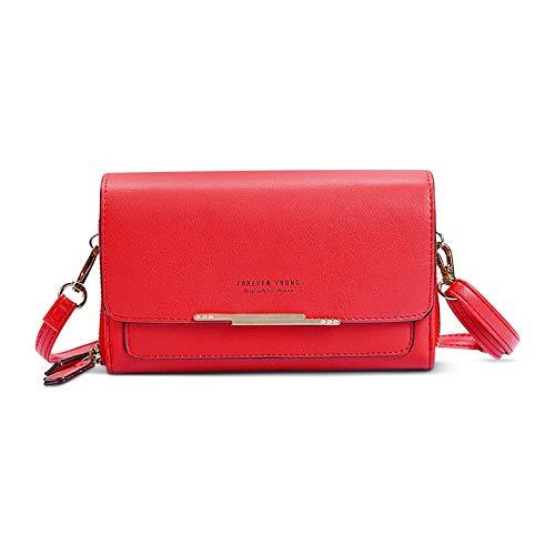FORRICA Borsa a Tracolla Cellulare Donna Portafoglio in Pelle PU Cerniera Portamonete Ragazza Piccola Crossbody Bag per Carte a Tracolla Rosso