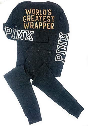 Victoria's Secret Pink Cozy Sleep One-Piece, World's Greatest Wrapper, Medium