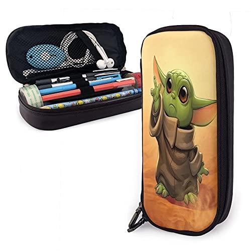 Baby-Yoda - Estuche de piel para lápices de viaje, bolsa de cosméticos de viaje, estuche con cremallera de gran capacidad, caja de almacenamiento de papelería, regalo de cumpleaños