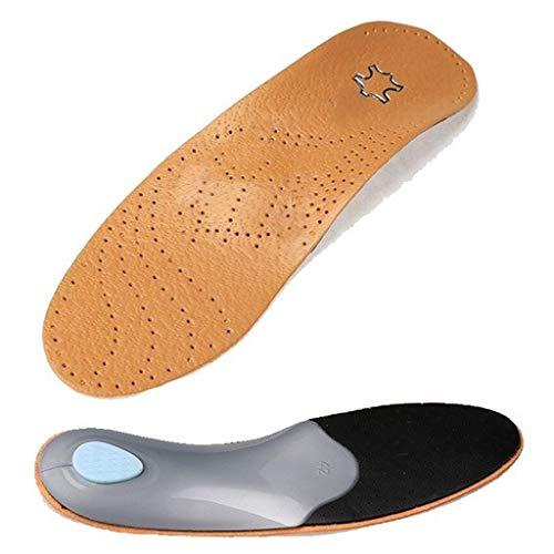 SimpleLife Plantillas de Cuero Damas, ortesis Pie Plano Soporte de Arco Alto 2.8-3cm Cojín de Almohadilla ortopédica Lavable para corrección OX Cuidado de la Salud de Las piernas