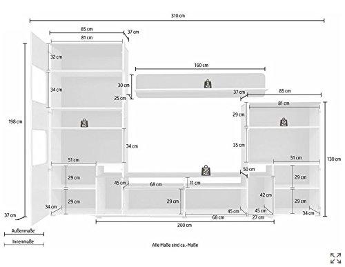 trendteam LU00202 Wohnwand Wohnzimmerschrank Weiss Hochglanz, Absetzungen schwarz, BxHxT 310 x 198 x 47 cm - 6