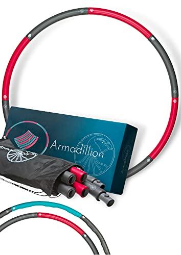 Armadillion Hula Hoop Reifen für Erwachsene [Stabil, Kein Wabbeln] 0,9 kg; Fitnessreifen für Zuhause, Zerlegbar, Inklusive Praktischem Beutel