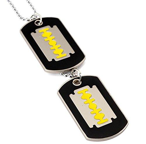 Gudeke Damen Herren Doppel Rasierklinge Tag Halsketten -Anhänger mit 70cm Kette (Gelb)