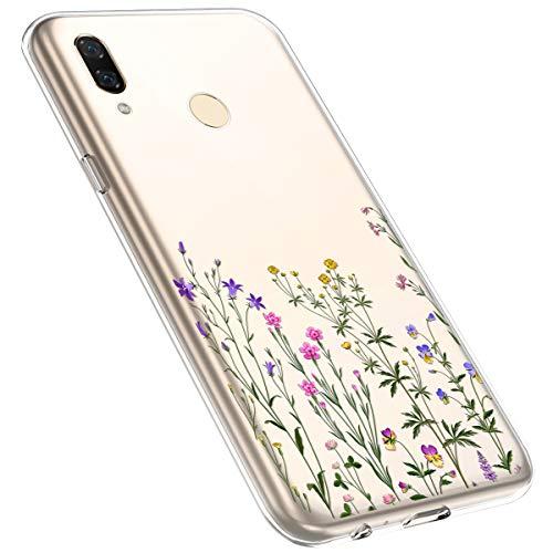 MoreChioce kompatibel mit Xiaomi Redmi Note 7 Hülle,Redmi Note 7 Handyhülle Blume,Ultra Dünn Transparent Silikon Schutzhülle Clear Crystal Rückschale Tasche Defender Bumper,Blumenzweig #14