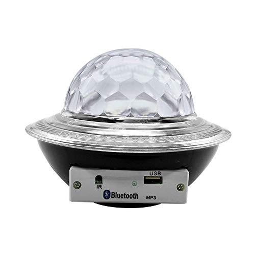 xiaoxioaguo Luz de escenario, bola mágica de cristal, altavoz Bluetooth giratorio, luz de ambiente del hogar colorida LED