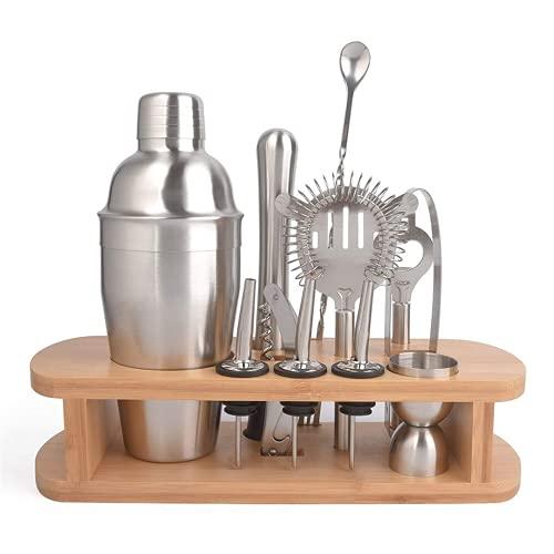 Kuingbhn Coctelera de coctelera 12 piezas con base de madera de acero inoxidable, kit de herramientas profesional para el hogar coctelera de coctelera bartender