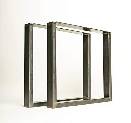 1 Paar (2 Stück) BestLoft Kufen – Tischkufen im Industriedesign aus Rohstahl (80x72cm, Transparent Pulverbeschichtet)