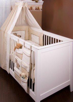7 st. Sängpaket Prestij i beige inklusive krypfilt och himmelstång