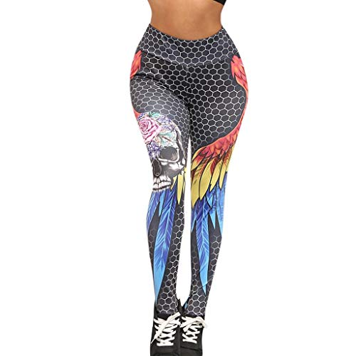 SHOBDW Pantalones Mujer Color Cintura Alta Estiramiento Capri Yoga Lindo ala De Shantou Imprimir Mallas para Correr Pantalones Deportivos Atlético Gimnasio Entrenamiento Leggings