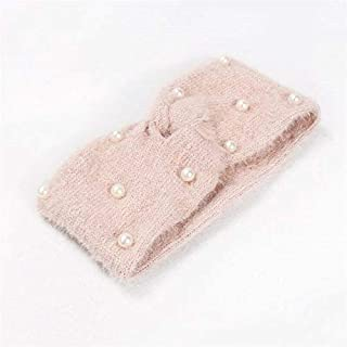 MOPOLIS Chic Women Cross Knitted Headband Pearl Hairband Elastic Head Band Headwear | Colors - pink