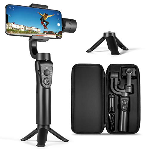 3-Axis Gimbal Stabilizer for iPhone 12 11 Pro XS Max XR X 8 Plus 7 6 SE Android Smartphone, with Sport Mode Face Object Tracking Time-Lapse, for Youtuber/Vlogger