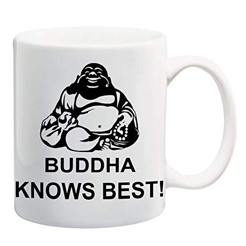 Bedruckte Tasse mit Spruch Buddha knows best
