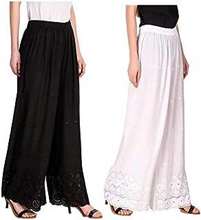 RZLECORT Women's Loose Fit Palazzo (Pack of 2) (AL-BLA-WH-RAYAN-CHI-PLAZO_Black & White _Free Size)