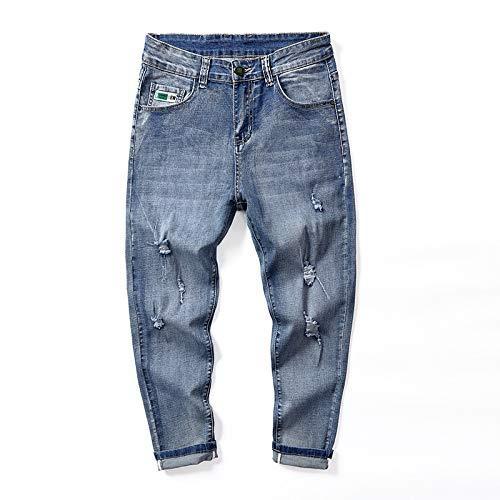 Pantalones Vaqueros Casuales con Agujeros Rasgados para Hombre Moda cómoda para Correr Pies pequeños, Pantalones Vaqueros Verano de Cintura Alta Pantalones de Ajuste Regular con Bolsillos 46