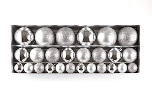 HEITMANN DECO 26er Set Christbaumkugeln Sortiment - Weihnachtsschmuck Silber zum Aufhängen - Kunststoffkugel Sortiment