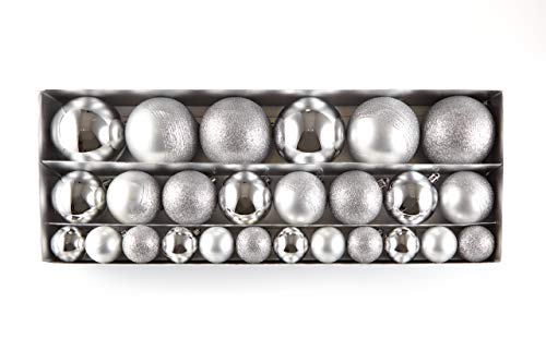 HEITMANN DECO Noël - Set de 26 Boules de Sapin de Noël 4/6/8 cm - Décoration de Noël à Suspendre en différentes Tailles - Boules en Plastique argentées